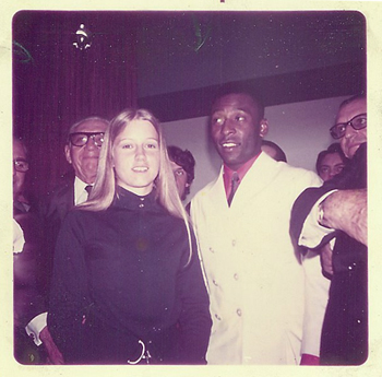 A young Jenny Messner with with Brazilian soccer star Pelé during her 1970 AFS year abroad in Brazil